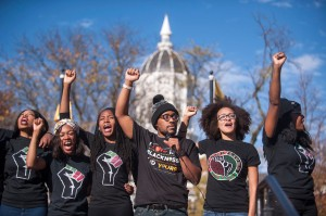 Concerned Students 1950 and the student body chant for solidarity and power at Traditions Plaza during a press conference following the Concerned Students 1950 protest on Monday, Nov. 9 2015, in Columbia, Mo. (Michael Cali/San Diego Union-Tribune/TNS) ORG XMIT: 1176357