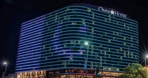 omni hotel lit up for pakistan